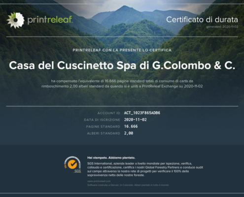 Certificato Printreleaf